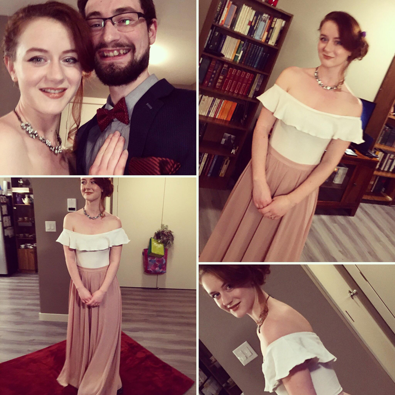A collage of photos of Laura and her husband dressed up for the premiere