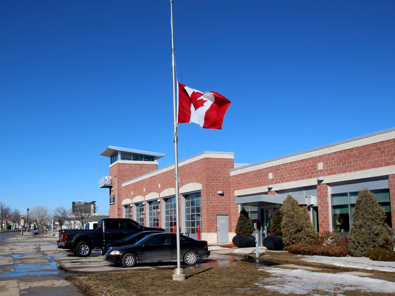The flag at the Steinbach Fire Hall is currently flying at half mast.