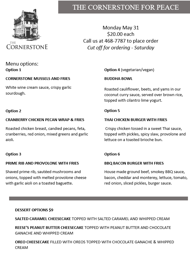 cornerstone menu for peace