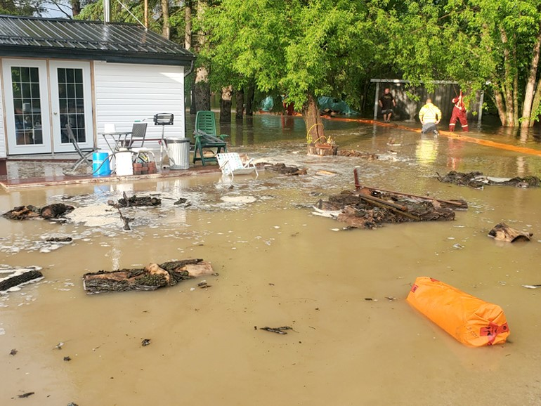 Flooding damages to Dwayne Tesarski's home in Lonesand, Manitoba.