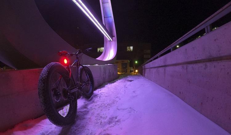 bike on path in winnipeg night