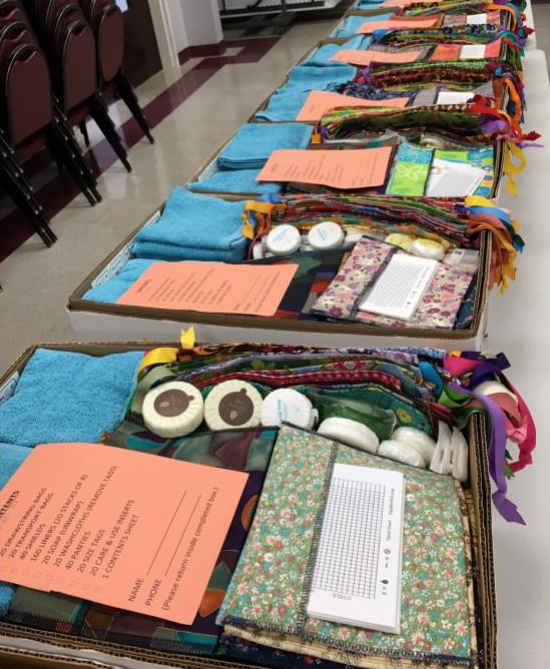 Inside the kits the charity gives to girls in 3rd world countries.