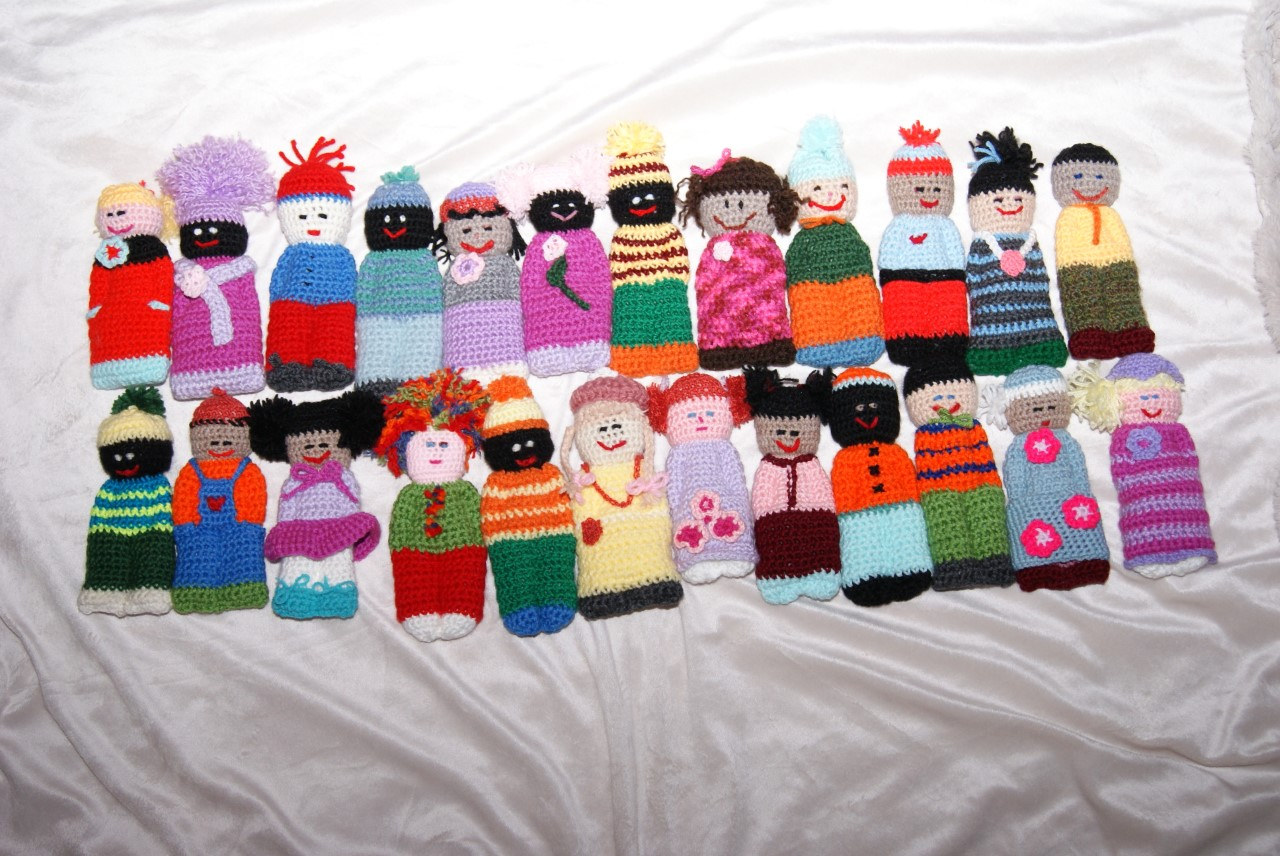 Some of the Izzy dolls Shelby Sturby has crocheted.