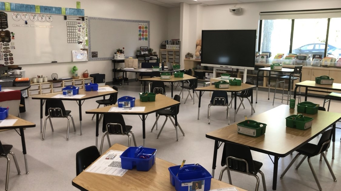Classroom set up during a pandemic