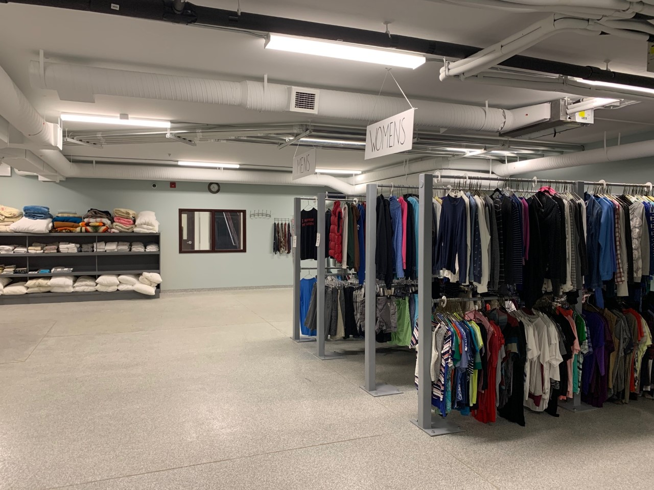 This is the expanded clothing store in the basement of the Buhler Centre.