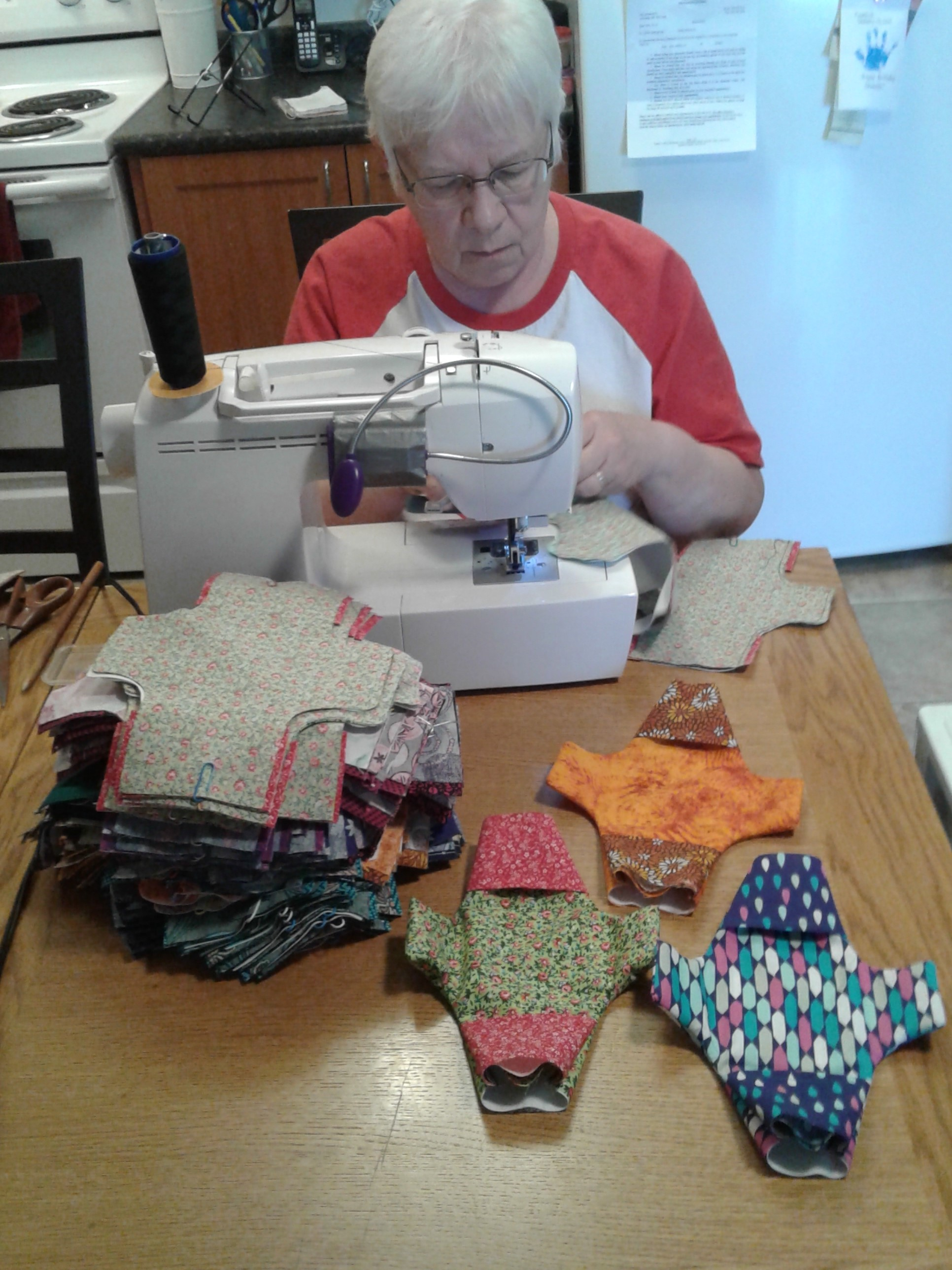 Linda Sidorow sews for Days for Girls. (Supplied)
