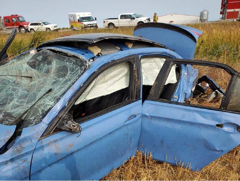 blue car smashed