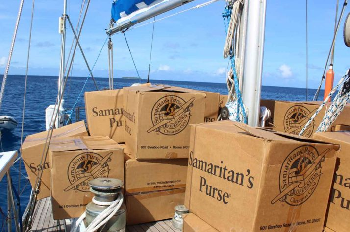 Cartons packed on a sailboat in the middle of the ocean